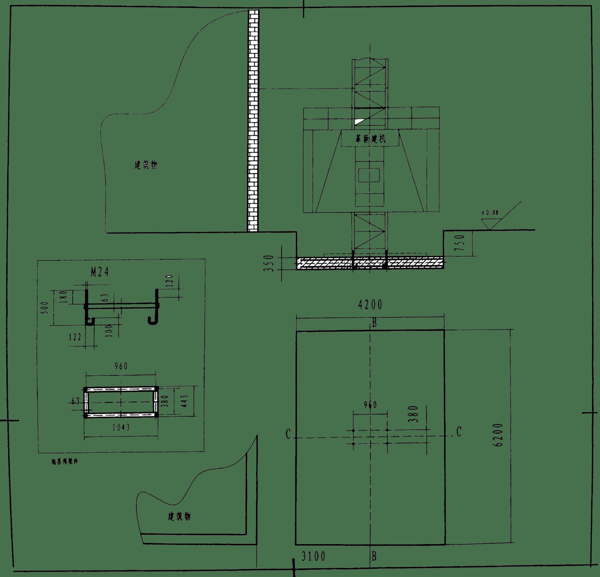 sc200施工升降机基础图纸(安装基础图)